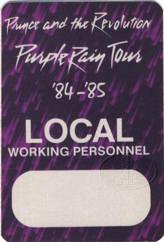 Prince 1984 Purple Rain Crew Backstage Pass Crew