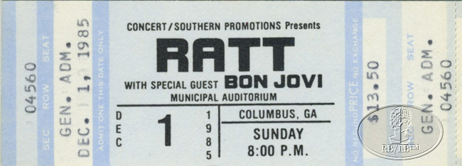 BON JOVI 1985 TOUR Unused Concert Ticket Opening Act for RATT