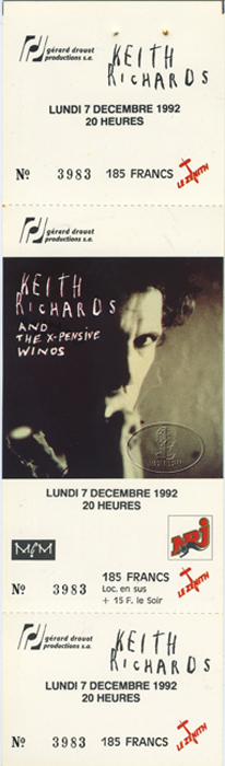 KEITH RICHARDS & the WINOS 1992 Unused Concert Ticket ROLLING STONES