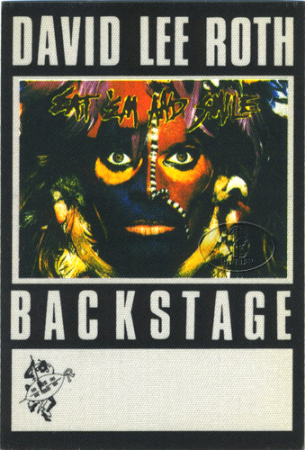 DAVID LEE ROTH 1986 BACKSTAGE PASS AA black VAN HALEN