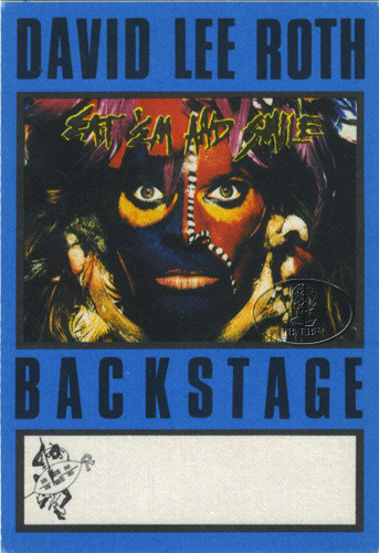 DAVID LEE ROTH 1986 BACKSTAGE PASS AA blue VAN HALEN