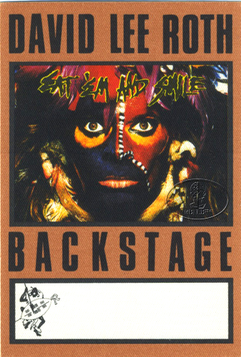 DAVID LEE ROTH 1986 BACKSTAGE PASS AA brown VAN HALEN