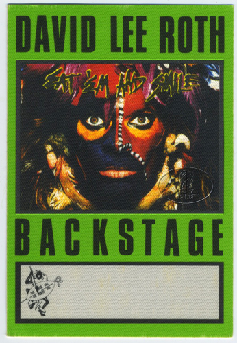 DAVID LEE ROTH 1986 BACKSTAGE PASS AA grn VAN HALEN