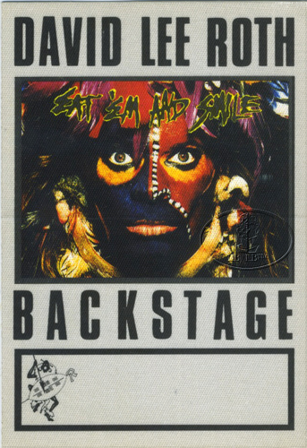 DAVID LEE ROTH 1986 BACKSTAGE PASS AA wht VAN HALEN