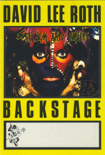 DAVID LEE ROTH 1986 BACKSTAGE PASS AA yellow VAN HALEN