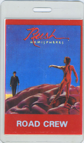 RUSH 1978-79 HEMISPHERES LAMINATED BACKSTAGE PASS