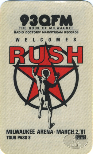 RUSH 1981 MILWAUKEE RADIO PROMO BACKSTAGE PASS