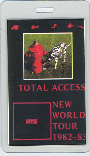 RUSH 1982 NEW WORLD LAMINATED BACKSTAGE PASS