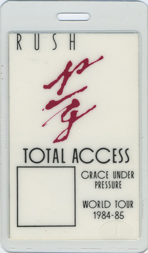 RUSH 1984-85 GRACE Under PRESSURE Laminated Backstage Pass