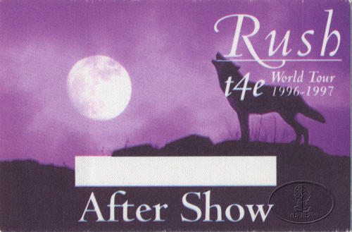 RUSH 1996-97 t4e Tour BACKSTAGE PASS ASO purple
