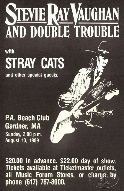 stevie ray vaughan 1989 concert poster w stray cats ebay. Black Bedroom Furniture Sets. Home Design Ideas