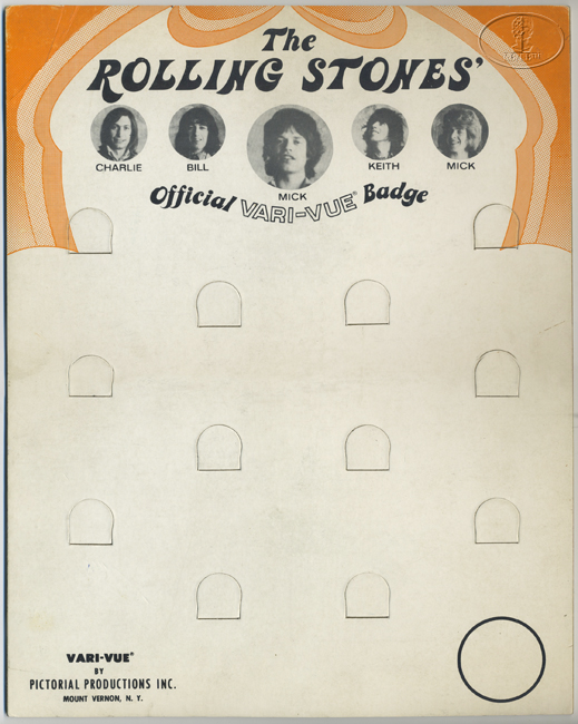 ORIGINAL ROLLING STONES 1970s VARI-VUE DISPLAY STAND-UP CARD