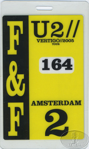 u2 2005 vertigo tour laminated backstage pass amsterdam ebay. Black Bedroom Furniture Sets. Home Design Ideas