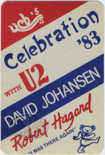 U2 1983 WAR TOUR BACKSTAGE PASS DAVID JOHANSEN Berkeley