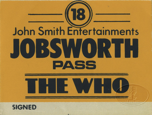 THE WHO 1975 EUROPEAN TOUR BACKSTAGE PASS KEITH MOON PETE TOWNSHEND DALTREY