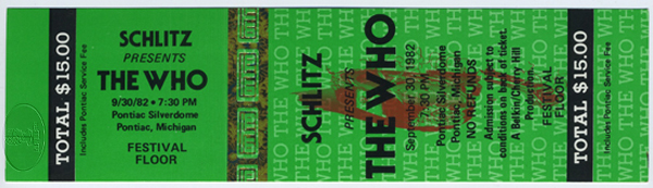 THE WHO & CLASH 1982 Unused Concert Ticket PETE TOWNSHEND ROGER DALTREY