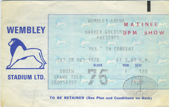 YES 1978 Tourmato Tour Concert Ticket Stub Wembley