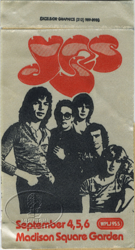 YES 1980 TOUR RADIO BACKSTAGE PASS Madison Square Garden