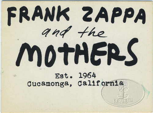 FRANK ZAPPA 1974-75 PROMOTIONAL STICKER white